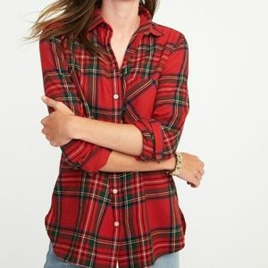 OLD NAVY Classic Red Plaid Flannel Button Down